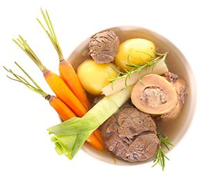 Bone broth contains gelatin and collagen.